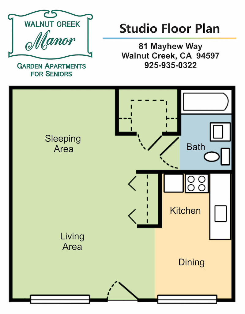 Studio Apartment Floor Plan: Unit A Studio